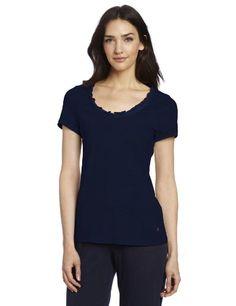 baeba9c46c Nautica Sleepwear Women s Short Sleeve Ruffle Sleep Tee