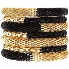 Asos Black And Gold Metal Bracelet Pack