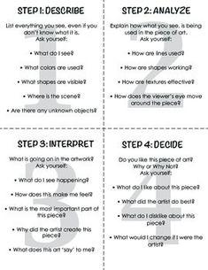 "Art Critique Worksheet/""Crit Cards"""
