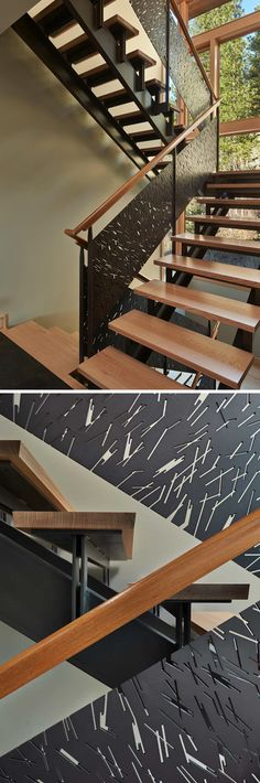 This creative metal stair railing has designs on it that make it resemble the look of the bark on the trees surrounding this home in the Pacific Northwest.