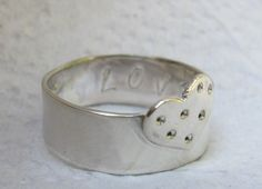 Silver Heart Ring with a Secret  Love  Hope Message/ Size 6.5