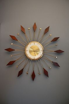 Vintage Mid-Century Star Burst Wall Clock by Welby