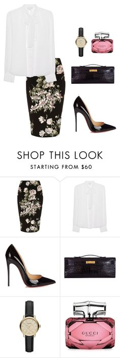 """""""Untitled #456"""" by nadiralorencia on Polyvore featuring River Island, Diane Von Furstenberg, Christian Louboutin, Hermès, Burberry and Gucci"""