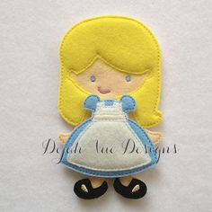 Alice outfit for felt doll available at https://www.etsy.com/shop/SchoolhouseBoutique