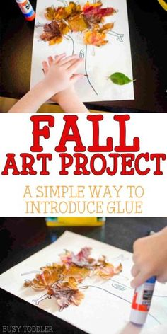 Fall Leaf Craft - Busy Toddler Fall Leaf Craft: A simple fall art project for toddlers; introduce toddlers to gluing with this quick and easy art activity; Preschool Art Projects, Toddler Art Projects, Toddler Crafts, Preschool Crafts, Fall Preschool, Preschool Themes, Toddler Fun, Preschool Learning, Baby Crafts