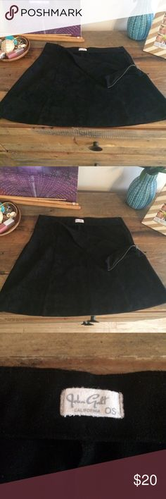 John Galt BRANDY MELVILLE Black Suede Mini SKIRT One size - which is a Small. Super cute zip on the side - Suede black skirt.   It's dry clean only. I hand washed it (oops!) and let it dry and it's completely fine though. Honestly. This lovely little thing is in great condition. I've never worn it - I bought it resale. Not sure of it's previous life and I can't tell if it's ever been worn. Questions/offers welcome. Brandy Melville Skirts Mini