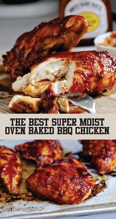 Super Moist Oven Baked BBQ Chicken Super Moist Oven Baked BBQ Chicken This chicken is really moist and juicy with your favorite BBQ sauce and the Smokey Paprika it's just what you Need to Make for dinner soon. Barbeque Chicken Recipes, Oven Baked Bbq Chicken, Grilled Bbq Chicken, Baked Chicken Recipes, Best Bbq Chicken, Moist Baked Chicken, Bbq Chicken Marinade, Chicken Tenderloin Recipes, Bone In Chicken Recipes