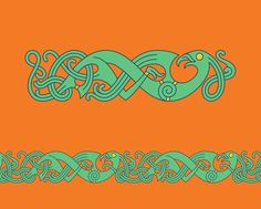 Bird In Mammen Style – Mammen style chain pattern of a bird inspired by the ornaments decorating the Mammen axe, from which the style got its name, found in a magnates grave in Mammen, Denmark. Celtic Symbols, Celtic Art, Viking Embroidery, Embroidery Patterns, Sewing Patterns, Celtic Animals, Viking Pattern, Viking Designs, Viking Culture