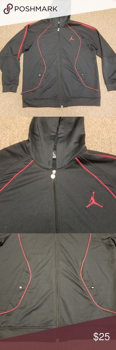 "Nike Air Jordan Jumpman Zip Up Hoodie 100% Poly Mens Nike Air Jordan Jumpman Black and Red Zip Up Hoodie. Jacket is in great used condition. 100% Polyester Size: 2XL Top to Bottom: 32"" Pit to Pit: 26""  Comes from a smoke free home.  Let me know if you have any questions.  Thank you for looking!!! Nike Sweaters Zip Up"