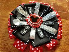 Disney Hair Bow Mickey Mouse Inspired Black Silver by candcstudios, $8.00