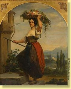 Charles Augustin Wauters.  Romaine au panier fleuri.