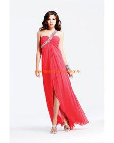 Rouge robe simple asymétrique pas cher cristaux mousseline robe de soirée 2013