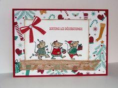 carte de Noël, Stampin'up, souris de Noël, fannystampin31