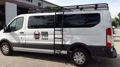 Ford Transit with Aluminess roof rack and ladder going to Moab to carry bicycles for Poison Spider Bicycles!