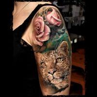 Rose and Leopard Tattoo Cheetah Tattoo, Leopard Print Tattoos, Dad Tattoos, Rose Tattoos, Tattoo Designs, Tattoo Ideas, Tattoo Shading, Amazing Body, Tattoo Life