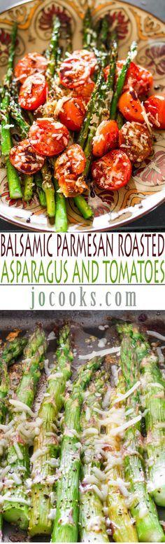 Balsámico parmesano asado espárragos y tomates