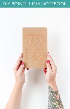 DIY Pointillism Notebook (click through for full tutorial!) @sharpieuncapped #StaplesBTS #PMedia #ad