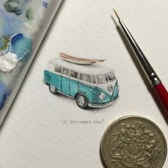 Check out these coin-sized paintings by miniaturist Lorraine Loots for her long running projects called Paintings for Ants and Postcards for Ants.