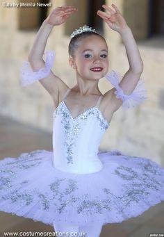 Little Ballerina Dressed for Performance  in White Classical Ballet Tutu  custom made by Monica Newell www.costumecreations.co.uk