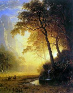 circa 1875, Albert Bierstadt, Heach Hetchy Canyon . American painting.