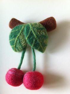 Cherry Felt Brooch by DArtFelting on Etsy,