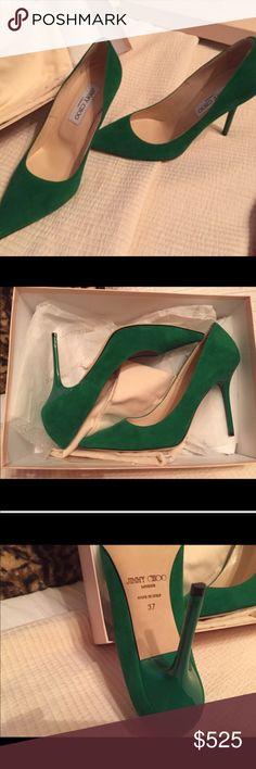 JIMMY CHOO GREEN VELVETY HEEL. NWOT New w/o tag. Unused. Surprisingly comfortable Jimmy Choo Shoes Heels