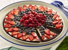 Brownie n Berries Dessert Pizza - made with brownie mix for the crust, cream cheese, sugar, vanilla, fresh strawberries, blueberries, raspberries & apple jelly.