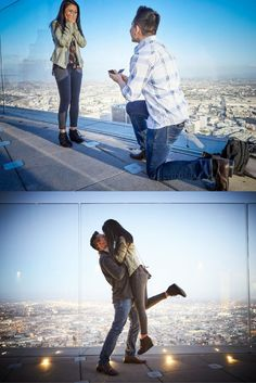 He started planning for this incredible proposal over LA after their very first date, and a year later, she said yes 1000 feet above the city. <3
