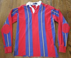 Polo Ralph Lauren long-sleeve striped Rugby Shirt Mens L padded elbows&shoulders #PoloRalphLauren #PoloRugby