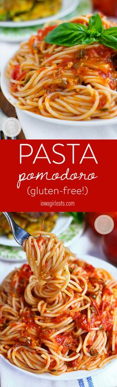 Pasta Pomodoro is the perfect recipe to highlight juicy, ripe summer tomatoes. This pasta dish is light and fresh! #glutenfree