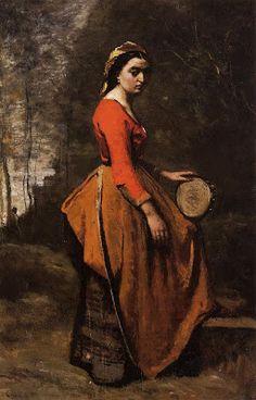 TICMUSart: Gypsy with a Basque Tamborine - Camille Corot (1860) (I.M.)
