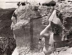 Construction of Mt. Rushmore Memorial 1939.