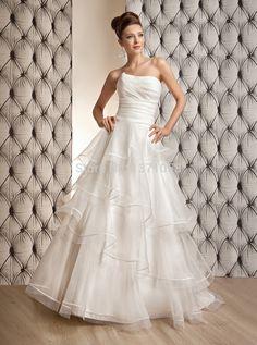 >> Click to Buy << Popular 2017 Garden White Wedding Dresses Strapless Tiers Ruffles Sweep Train A-Line Custom Bridal Gowns Vestido de Novia #Affiliate