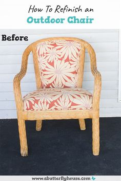 Learn how to refinish an outdoor chair with this quick furniture before and after. Includes upholstery and how to recover piping! #upholstery #furniture Diy Furniture Flip, Outdoor Furniture Plans, Thrift Store Furniture, Rustic Furniture, Industrial Furniture, Chair Makeover, Furniture Makeover, Butterfly House, Diy Porch