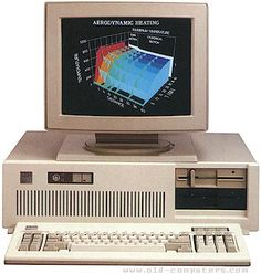 PC-AT from IBM, 1984, 8Mhz processor, could actually do color graphics if you gave it long enough.  First one at the library at FLC.