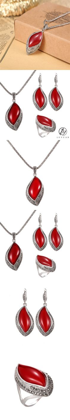 3Pc/Set Indian Wedding Jewelry Set For Women Antique Silver Plated Black Crystal Red Leaf Pendant Necklace Earrings Ring Set 20%