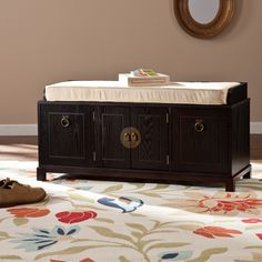 Features two (2) pull-down bins and one (1) cabinet with one (1) adjustable shelf Plus, removable seat cushion Ebony stained finish with tan cushion and antique bronze hardware Seat: 20.25 inches high x 38.25 inches wide x 14.5 inches deep Cushion: 3 inches thick Bins: 9 inches high x 9 inches wide x 11 inches deep Cabinet: 12.74 inches high x 16 inches wide x 14.5 inches deep Shelf: 6 inches high (adjust 1.25 inches up/down) x 15.75 inches wide x 13.75 inches de; $275
