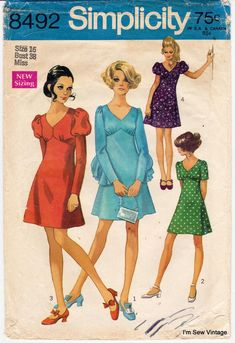 Vintage Dresses Simplicity 8492 dress with sleeve variations bust 34 60s And 70s Fashion, Seventies Fashion, Retro Fashion, Vintage Fashion, Robes Vintage, Vintage Dresses, Vintage Outfits, Vintage Clothing, Vintage Dress Patterns