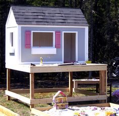 I want to make this! DIY Furniture Plan from Ana-White.com This playhouse deck uses standard 2x6 boards and minimizes scraps. Four feet off the ground, there is just enough clearance underneath to store toys under! Also check out the other options for building this deck in a more economical fashion - depending on the price of lumber in your area.
