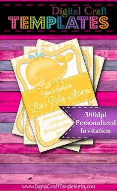 Personalized Printable Invitations | Yellow Whale | Baby Shower | Birth Announcement |  #318