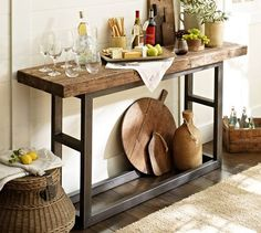 Pottery barn table - love this table for wine, entrance way or the space between rooms