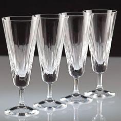4 edle Vintage Sektgläser Sektkelche Kristall Gläser Glas Schliff ~ 60er 60s K12