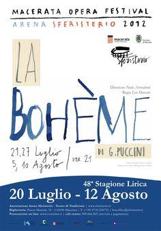 MANIFESTI // 70x100 // LA BOHÈME // L'opera di Giacomo Puccini portata in scena allo Sferisterio dal regista Leo Muscato nell'illustrazione di Francesca Ballarini. #allieviemaestri #altrochelopera www.sferisterio.it