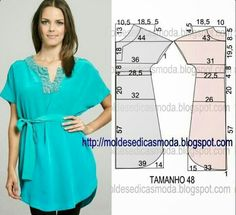 VESTIDO FÁCIL DE ~ Moldes Moda por Medida Thought this would look good as a dress with in seam pockets.Masters and clever men: Simple patterns of summer dresses № for sewing enthusiasts. Dress Sewing Patterns, Blouse Patterns, Sewing Patterns Free, Clothing Patterns, Diy Clothing, Sewing Clothes, Diy Fashion, Ideias Fashion, Vetements Clothing