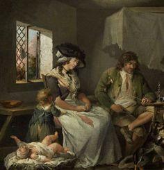 Le miserie dell'ozio, George Morland, 1780 ca., particolare
