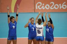 US women hold off scrappy Netherlands team in 5 sets  -  August 8, 2016  -        Italy's Cristina Chirichella (11), Martina Guiggi (7), Monica de Gennaro (6) and Alessia Orro (4) greet each other as they are introduced ahead of a Women's preliminary volleyball match against China at the 2016 Summer Olympics in Rio de Janeiro, Brazil, Monday, Aug. 8, 2016. (AP Photo/Matt Rourke)