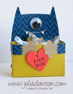 Julie's Stamping Spot -- Stampin' Up! Project Ideas Posted Daily: VIDEO: Valentine Monster Hugs Treat Box Tutorial