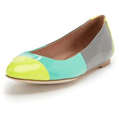 Ella Moss Lanie Colorblock Ballet Flat ($89) ❤ liked on Polyvore featuring shoes, flats, neon yellow, ballerina flat shoes, color block flats, skimmer shoes, neon yellow ballet flats and flat pumps