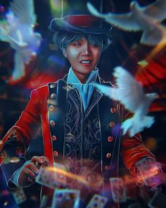 "illusionist of the circus ""Antre"" Jung Hoseok, Jikook, Jhope, Taehyung, Jimin, K Pop, Bts Art, Bts Korea, Fanart Bts"