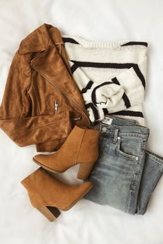 Suede with Love Tan Suede Moto Jacket - Fall Outfits Summer Work Outfits, Fall Winter Outfits, Autumn Winter Fashion, Winter Clothes, Winter Wear, Winter Boots, Look Fashion, Teen Fashion, Fashion Outfits